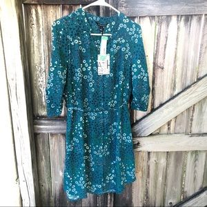 🆕 41Hawthorn teal green floral belted shirt dress